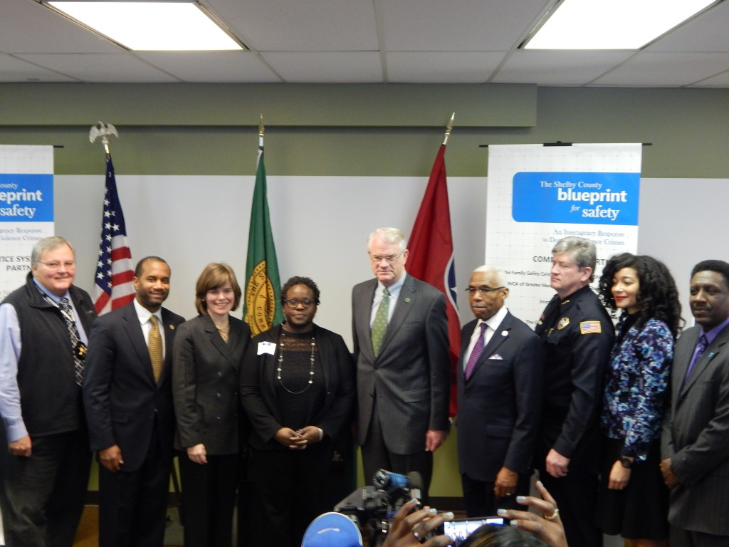 Launch speakers: Bill Oldham, Shelby County Sheriff; Edward L. Stanton, III, U.S. Attorney; Amy Weirich, District Attorney General; Olliette Murry-Drobot, Family Safety Center Director; Mark H. Luttrell, Jr., Mayor of Shelby County; A.C.Wharton, Jr., Mayor of Memphis; Mike Ryall, Deputy Chief of Memphis Police Department; Lia Roemer, YWCA/Blueprint Coordinator; and Kevin Reed, Judicial Commissioner.