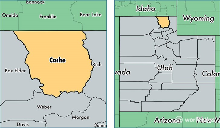 Map image of Cache, County, Utah